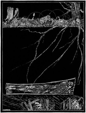 """Illustration for Edgar Allan Poe's story """"The Premature Burial"""" by Harry Clarke (1889-1931), published in 1919."""