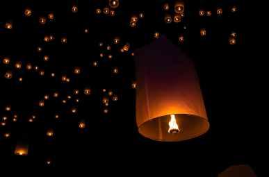 fire lanterns at night