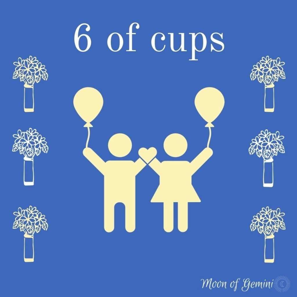 6 of cups tarot card, cups represented as flower vases