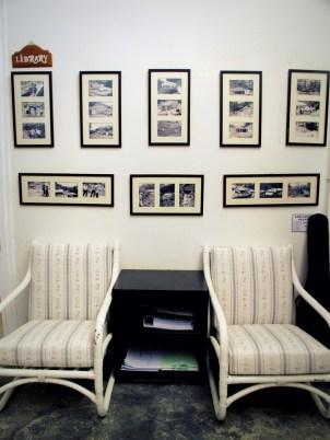 Main Lodge: Moonriver Wall at the Library displays photos of the humble beginnings of Moonriver Lodge