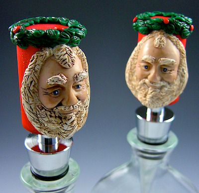 A Pair of Santa Wine Bottle Stoppers