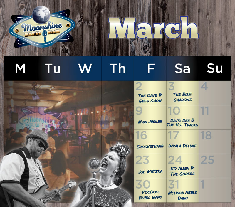 Moonshine Performance Calendar - March 2018