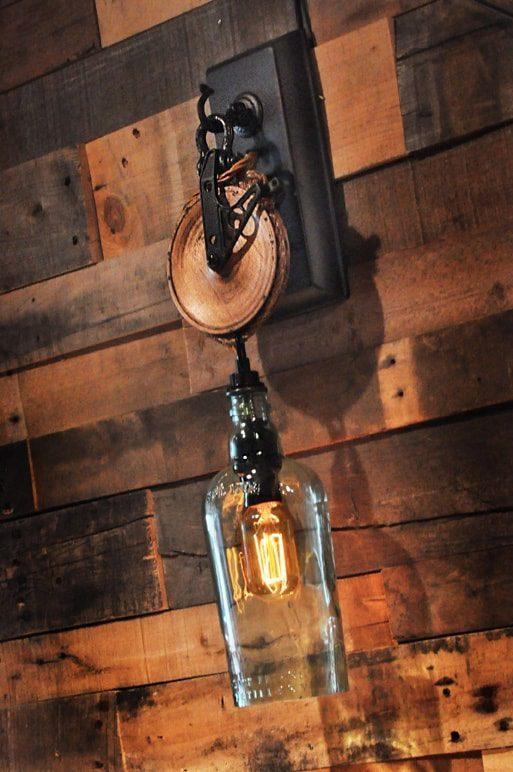 Wooden Wheel Sconce  Moonshine Lamp Company  Moonshine