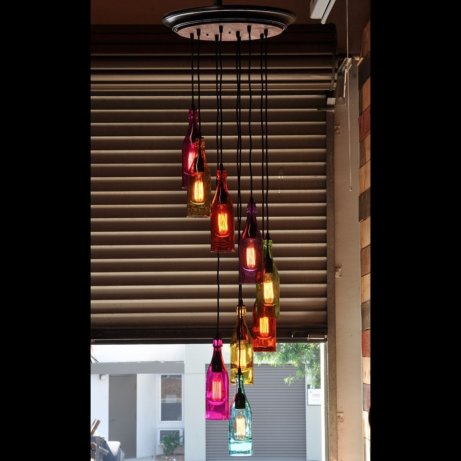The Mardi Gras Cascade Colored Glass Bottle Chandelier