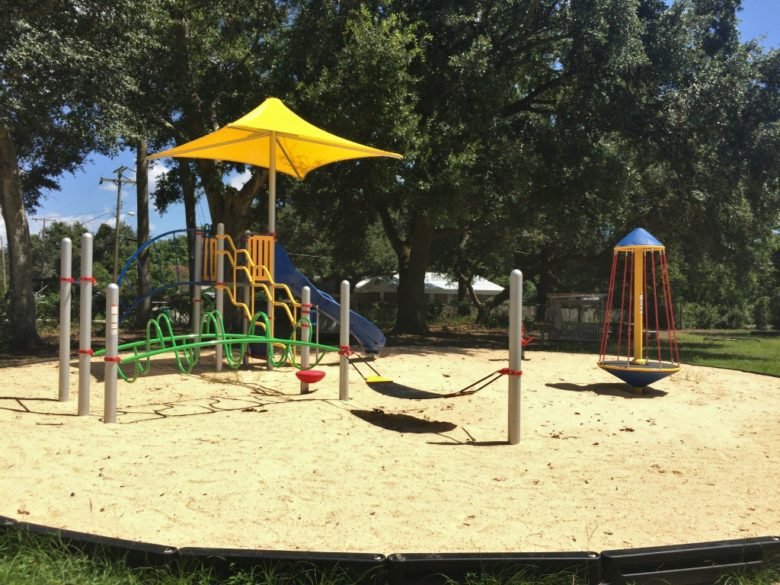 colorful playground with shade