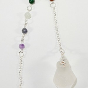 Selenite Pendulum with Chakra Beads