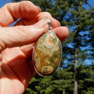 Rainforest Jasper Oval Pendant