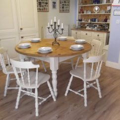 Round Oak Table And 6 Chairs Grey Check Chair Covers Vintage Large Farmhouse