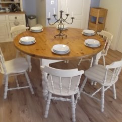 Round Oak Table And 6 Chairs Minimalist Office Chair Vintage Large Farmhouse