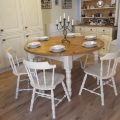 Round Oak Table And 6 Chairs Tripod Chair Camping Vintage Large Farmhouse