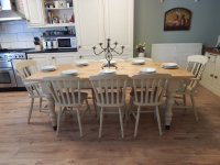 STUNNING LARGE SOLID PINE FARMHOUSE TABLE & 8 CHAIRS ...
