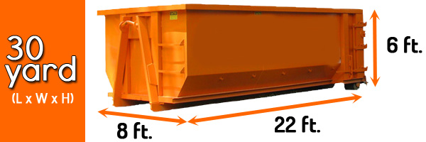 Dimensions of 30 yard dumpster