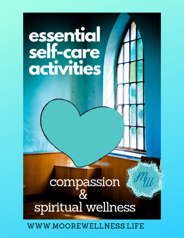 Light coming in from stain glass window, essential self-care activities include compassion and spiritual wellness.