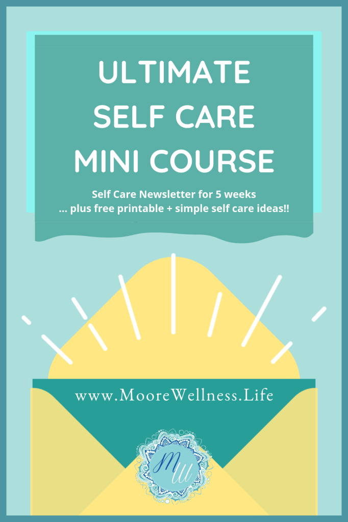 yellow and green envelope with white rays exclaiming self care mini course for free from www.moorewellness.life