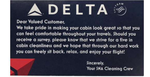 Delta Air Lines Cleaning Card: Strive For Five