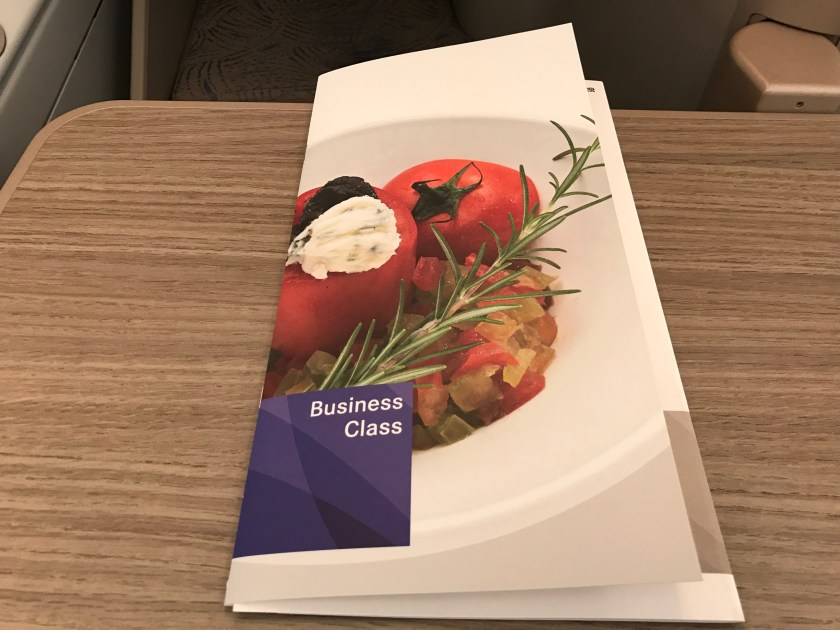 Asiana Airlines A380 Business Class Menus