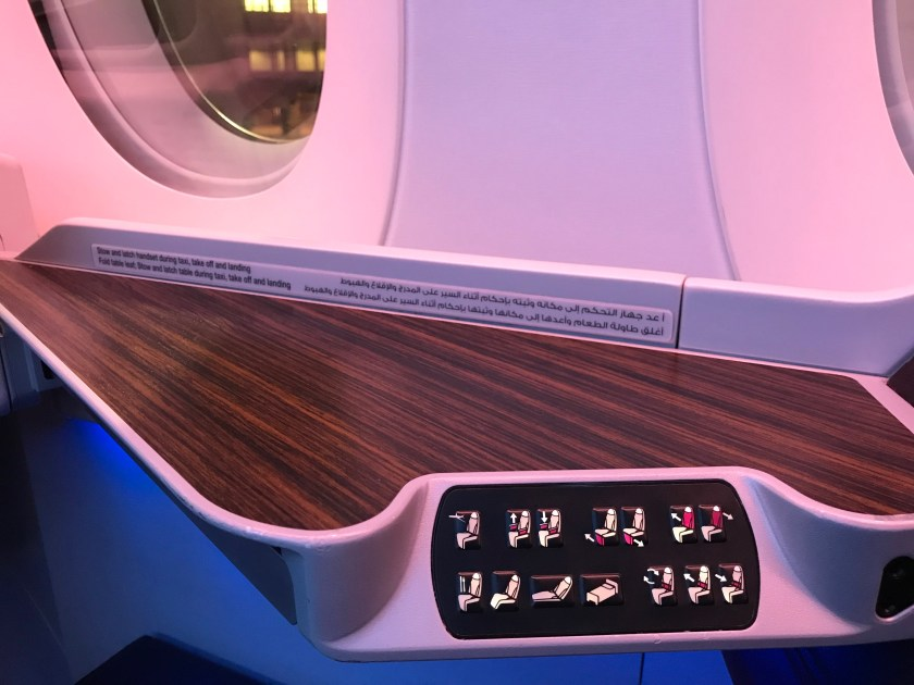 Qatar Airways A350 Business Class Seat Controls