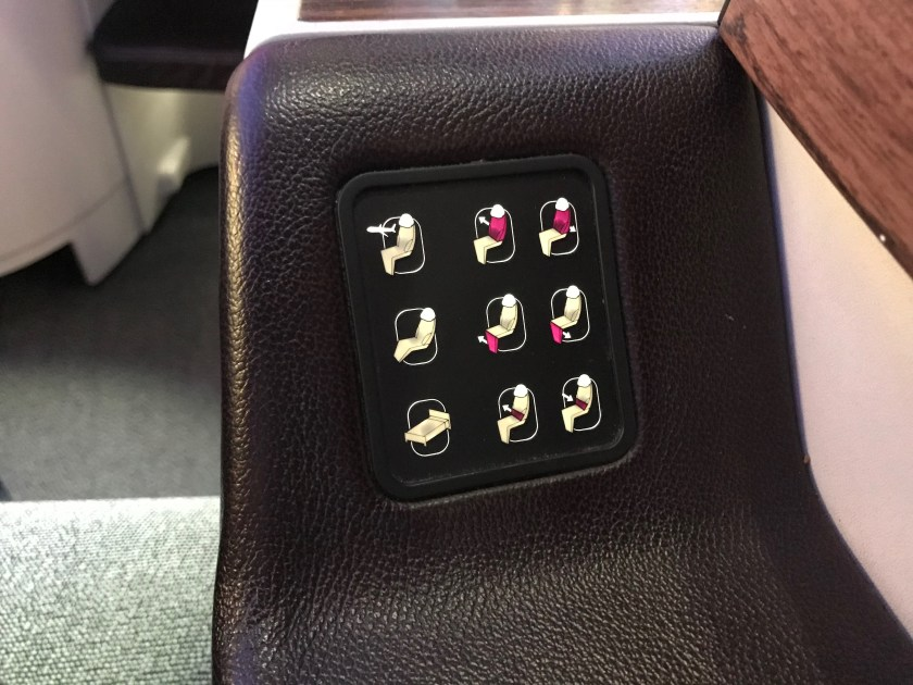Qatar Airways A330 Business Class Seat Controls