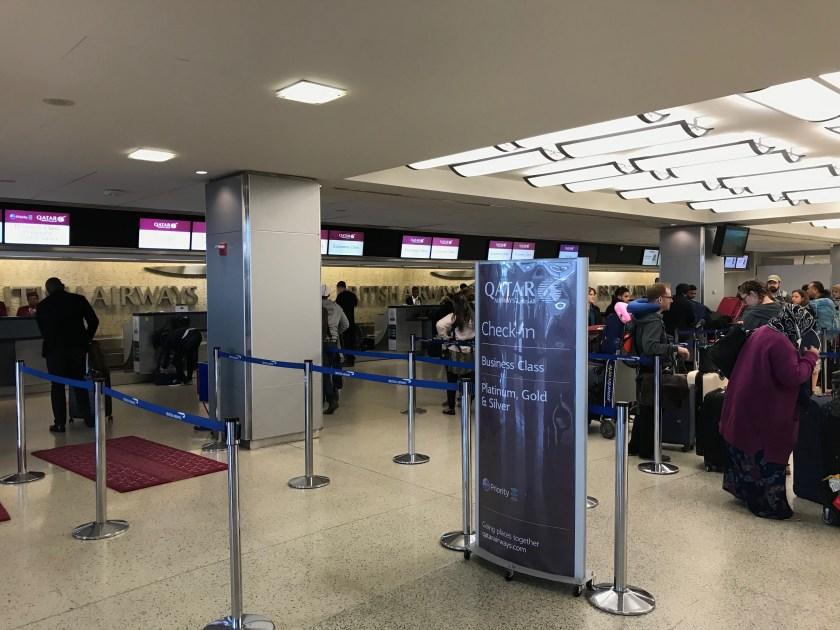 Qatar Airways Check-In Desk New York JFK Airport