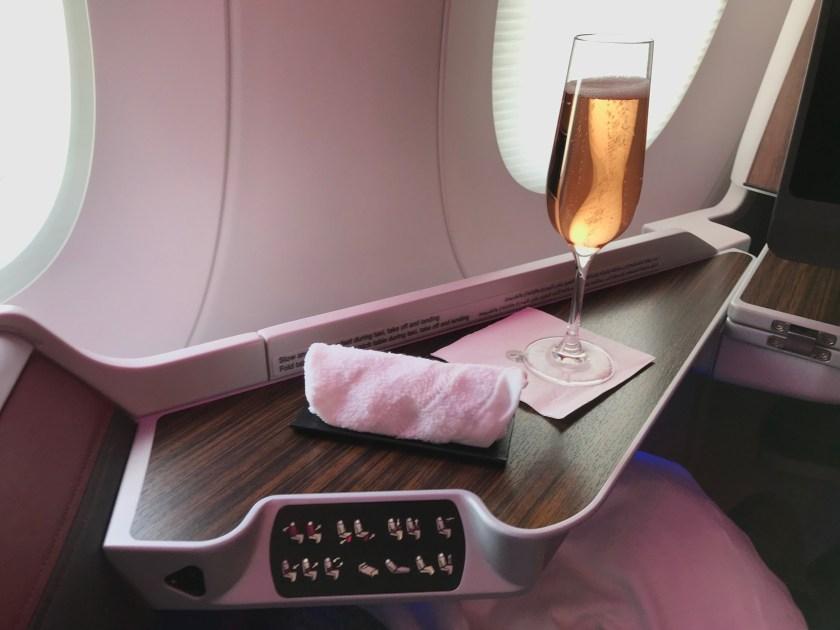 Qatar Airways A350 Business Class Pre-Departure Champagne