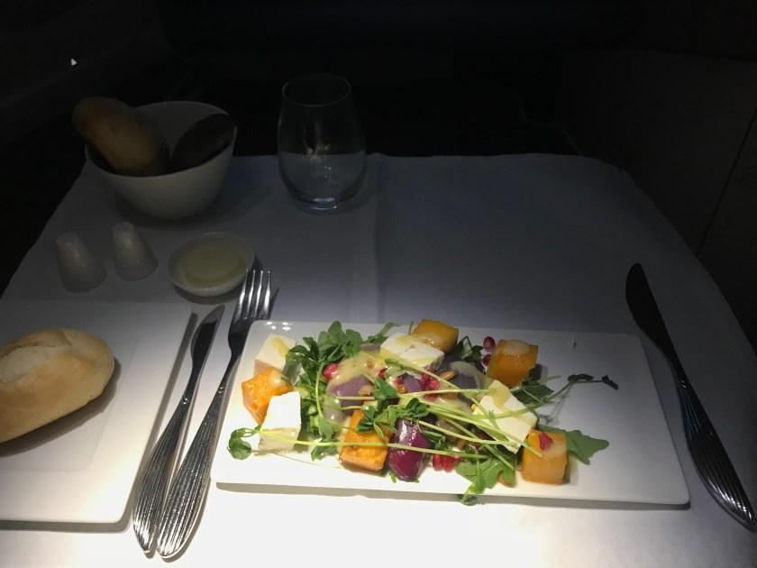 Qatar Airways A350 Business Class Salad