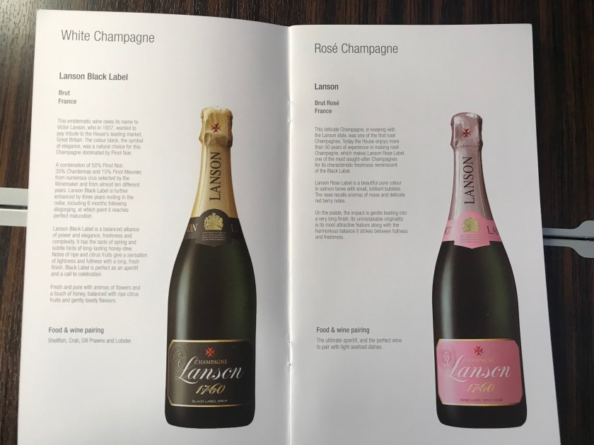 Champagne Qatar Airways A350 Business Class Wine List