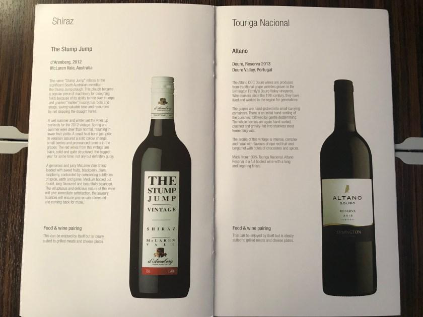 Red Wine Qatar Airways A350 Business Class Wine List