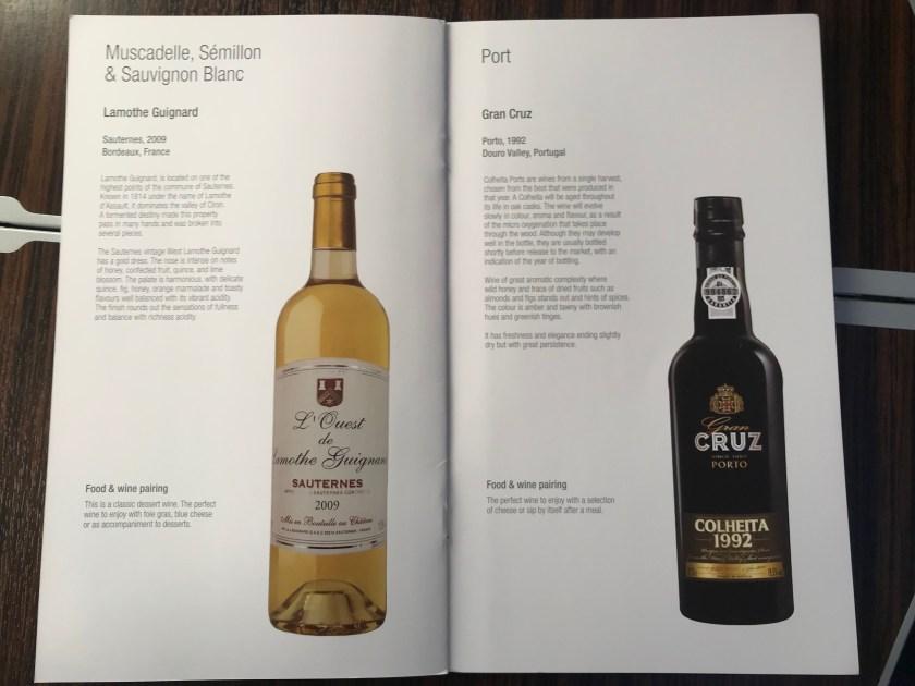 Dessert Wine Qatar Airways A350 Business Class Wine List
