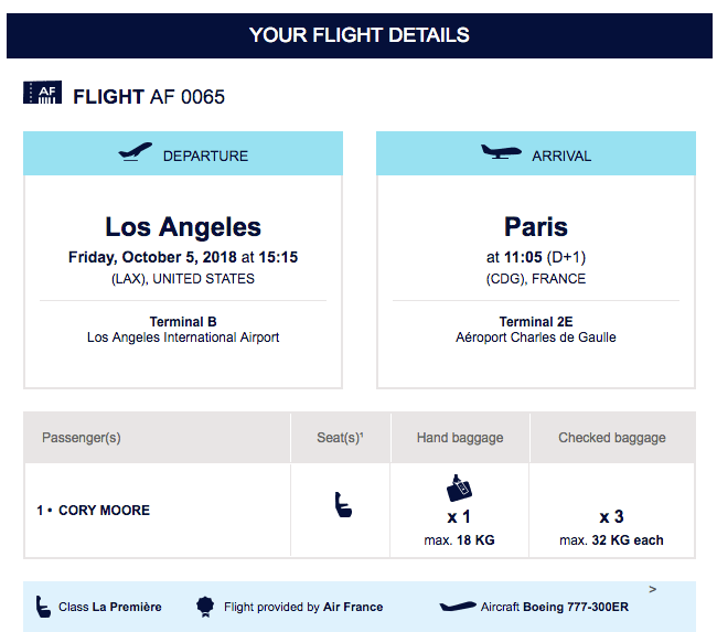 Air France La Premier Mistake Fare