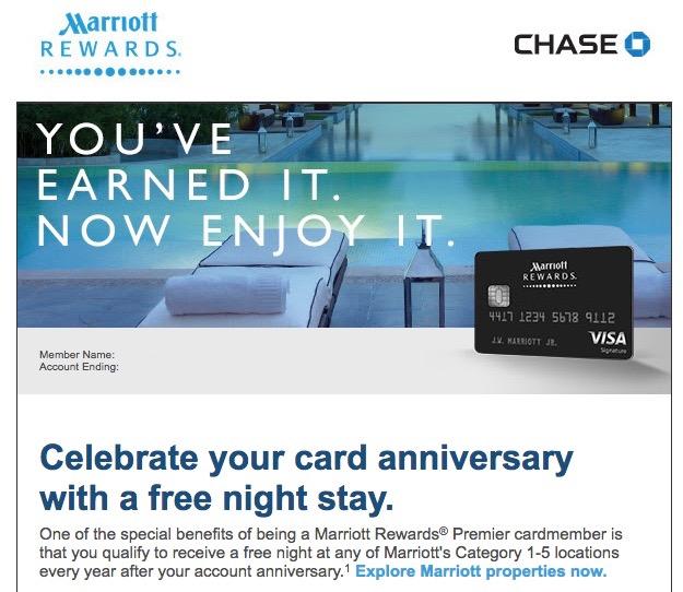 Marriott Premier Rewards Anniversary Gift Email