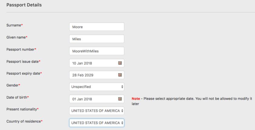Passport Detail Page