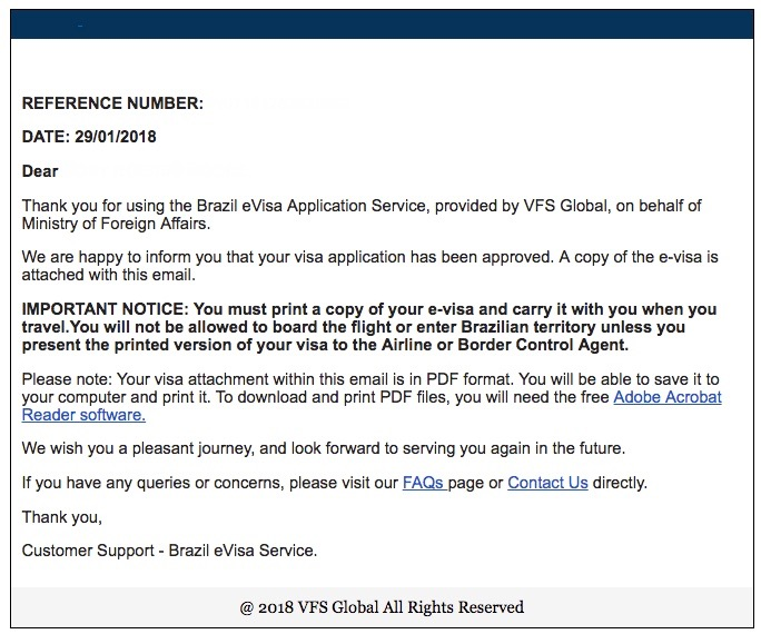 Brazil eVisa Confirmation Email