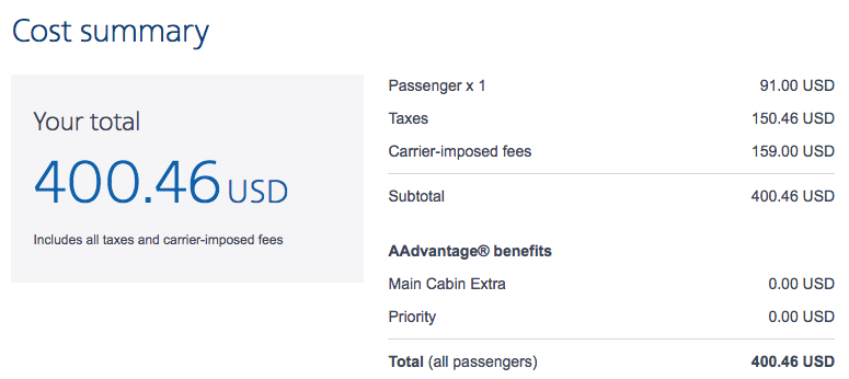 American Airlines Standard Fare Cost Summary
