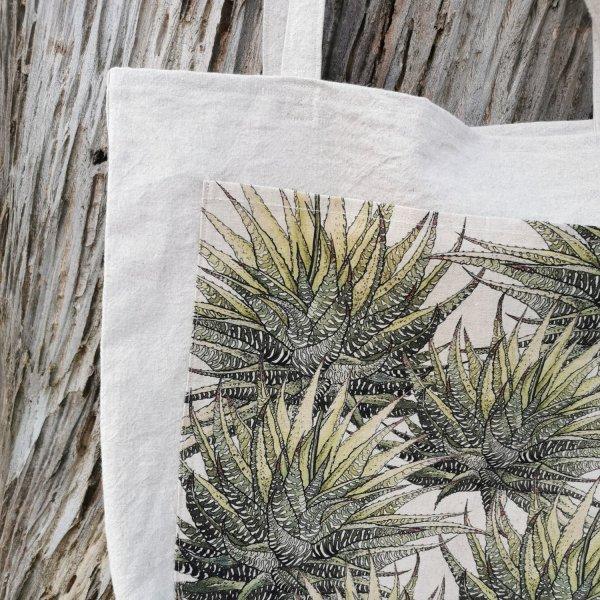 CoralBloom Hemp Tote Bag Detail Succulents