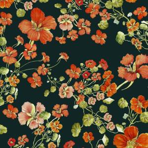CoralBloom Kimono Purelinen Nasturtiums on Jade