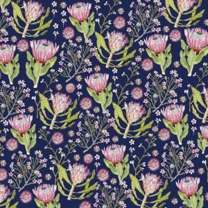 CoralBloom Kimono Purelinen Proteas on Blue