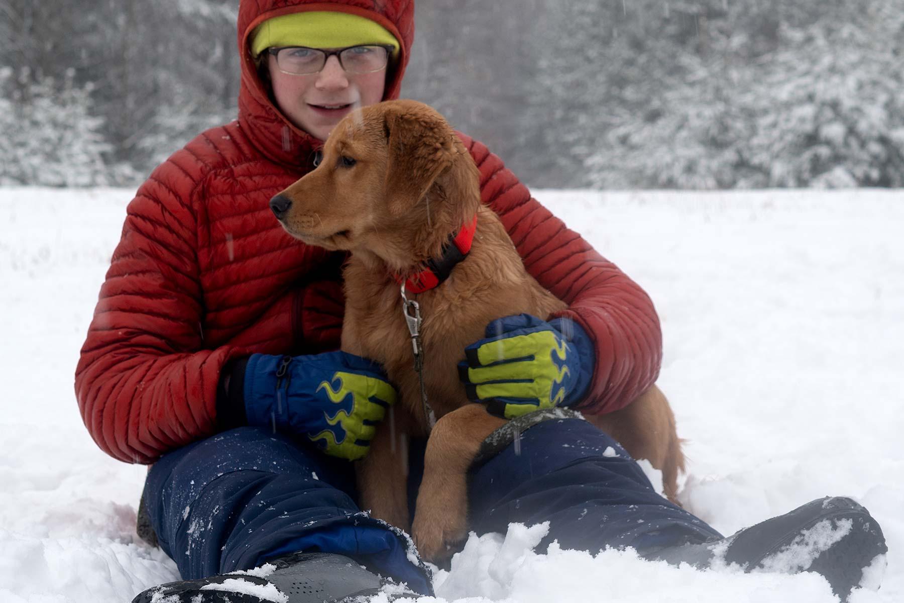 Maggie with Brandt winter scene
