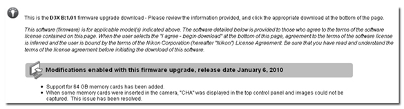 Nikon Posts Firmware Updates for D3x, D3, D700 | Moose Peterson's