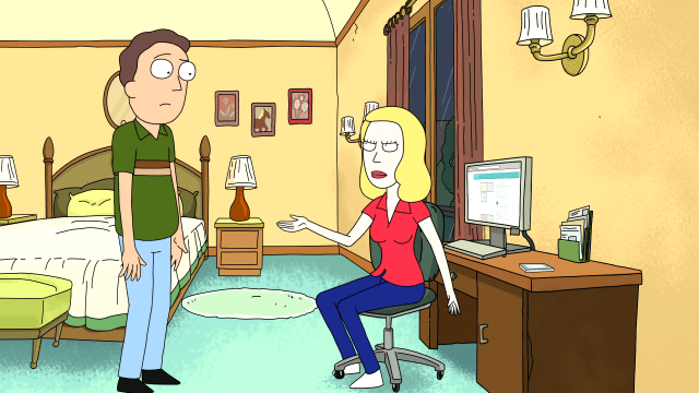 Beth and Jerry from Rick and Morty