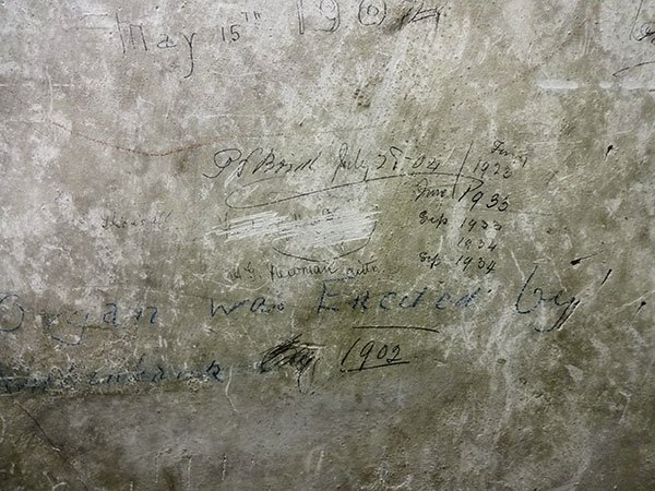 Graffiti in the organ chamber