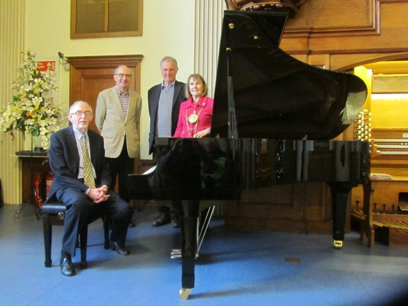 Presentation of the new Moot Hall grand piano, Jan 5th 2015; (left to right) Ian Ray, Hon. Borough Organist; Cllr Nigel Chapman; Cllr Nick Cope; Cllr Theresa Higgins, Mayor of Colchester.