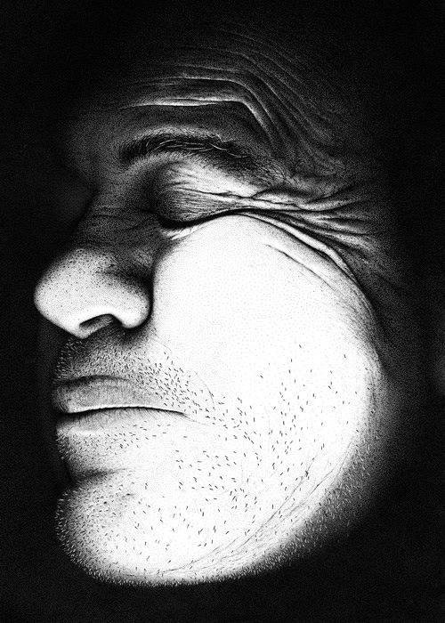 puntillismo retratos blanco y negro