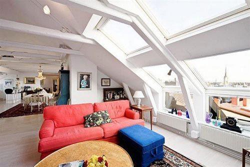 fotografia decoracion atico usado como cuarto estar