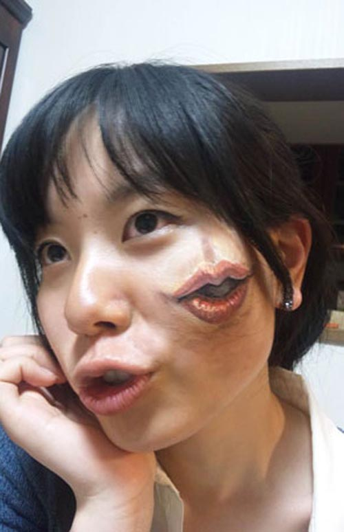 trabajo body art artista japonesa chooo san boca mejilla