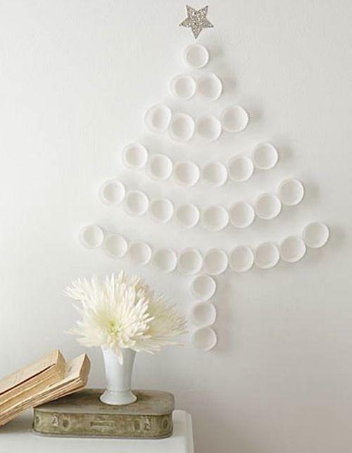 arbol navidad blanco pared sencillo