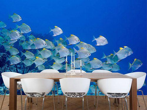 decoracion pared tapiz peces