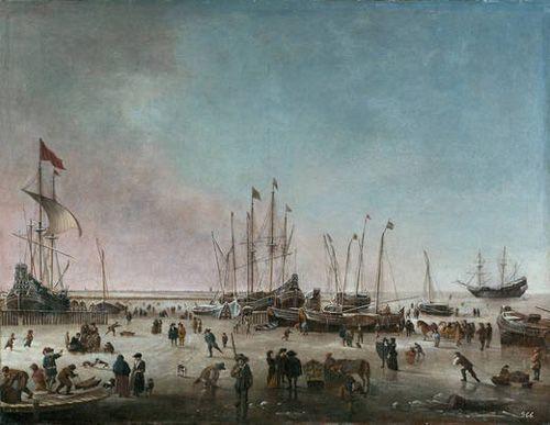 paisaje el puerto amsterdam invierno artista nordico hendrick jacobsz dubbels