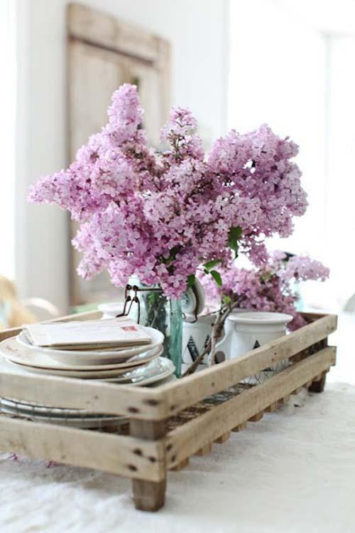 flores vintage bandeja