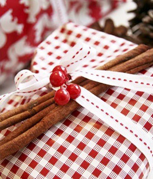 regalo decorado canela rama