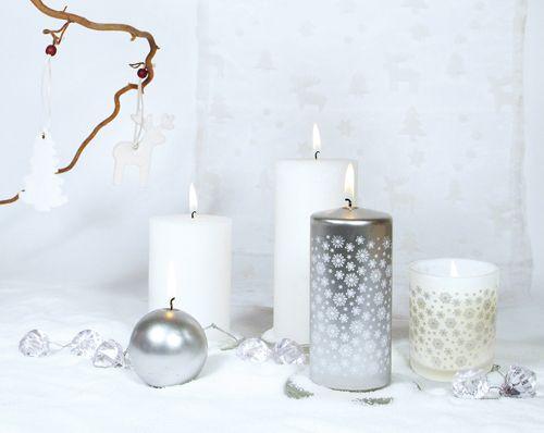 velas navidad blanco plata